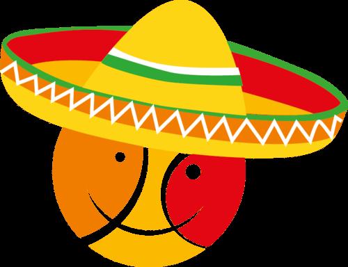 Ilustração de uma cabeça utilizando um sombreiro nas cores laranja, amarelo e vermelho, cores do movimento Satisfeito.