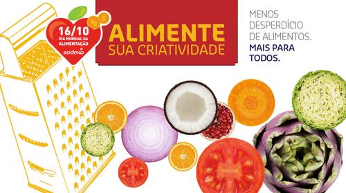 """Legumes em formatos circulares. Em cima um letreiro vermelho, escrito com fonte laranja """"Alimente sua criatividade"""""""