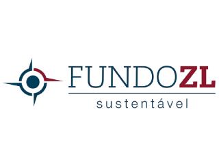 Logo com o desenho de uma rosa dos ventos e o texto: FundoZL sustentável