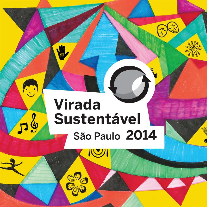 Ilustração com diversas formas geométricas coloridas. Texto na imagem: Virada Sustentável São Paulo 2014