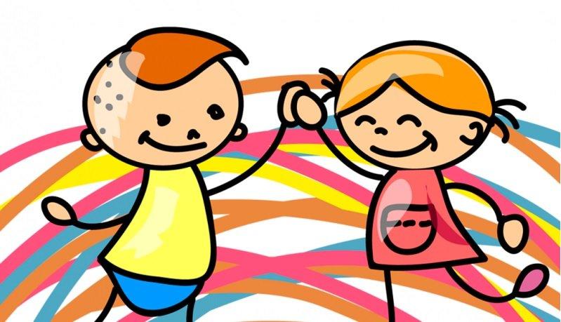 Desenho de duas crianças batendo na mão uma da outra.
