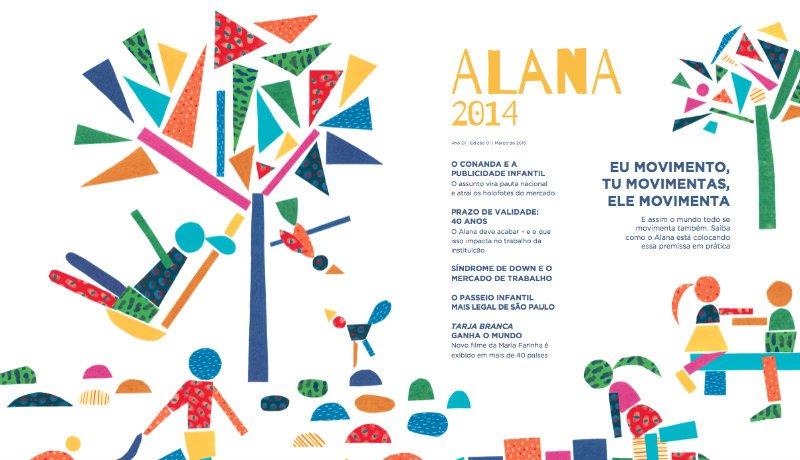 Página de apresentação do relatório de atividades 2014. A imagem mostra algumas ilustrações coloridas, com formas geométrica.