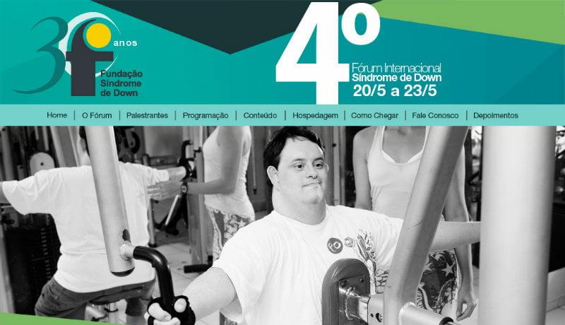 Material de divulgação do 4º Fórum Internacional de Sindrome de Down mostra um homem com síndrome de Down, fazendo exercício