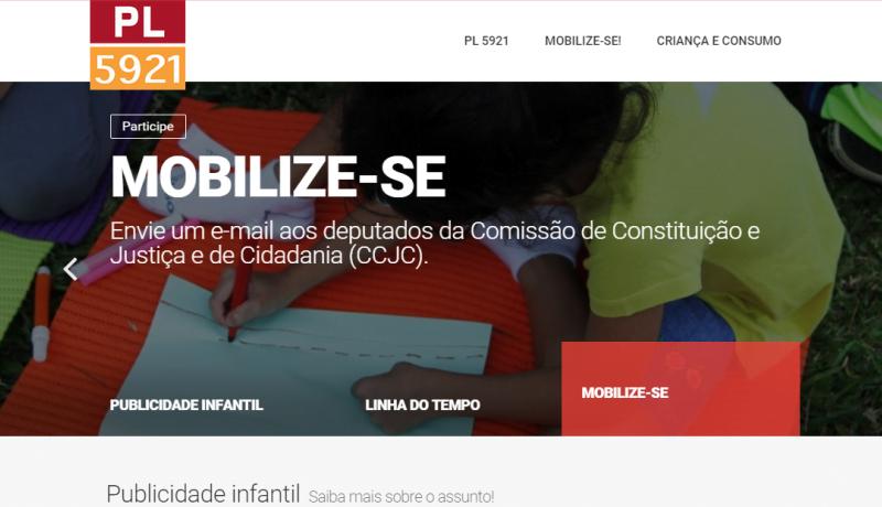 Página inicial do site com a foto de uma criança escrevendo e o texto: PL5921. Mobilize-se. Envie um email aos deputados.