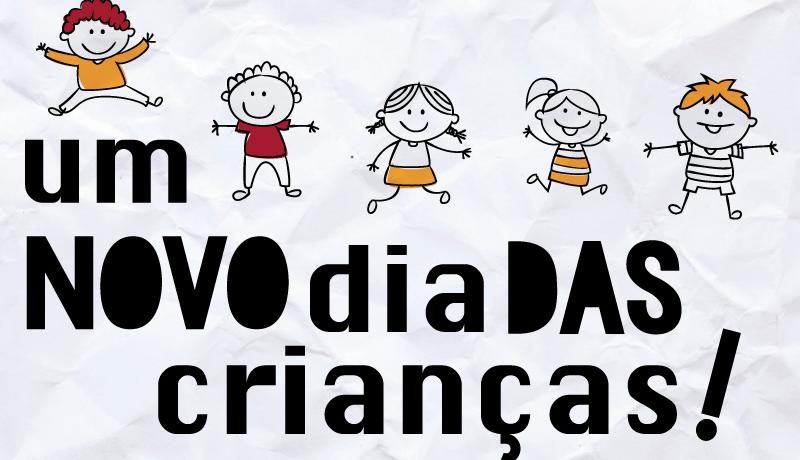 """Ilustração de crianças em um fundo branco, escrito """"Um novo dia das crianças"""""""