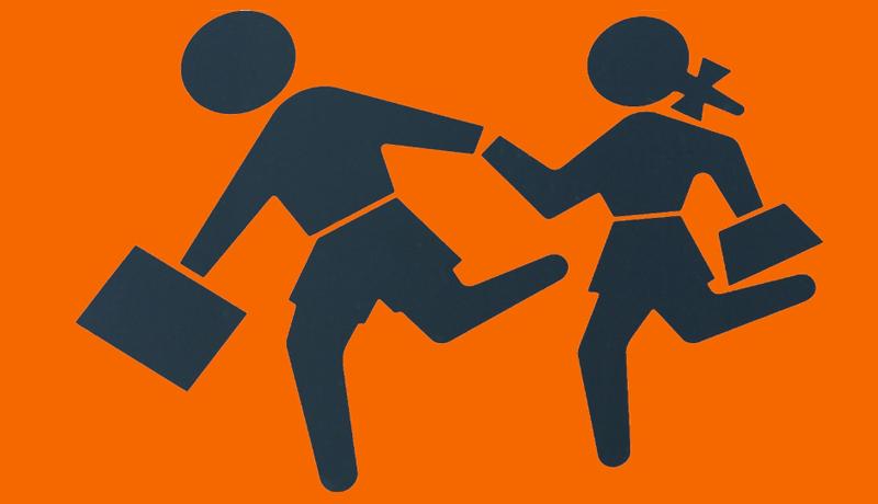 Dois bonecos correndo de mãos dadas, segurando uma mala.