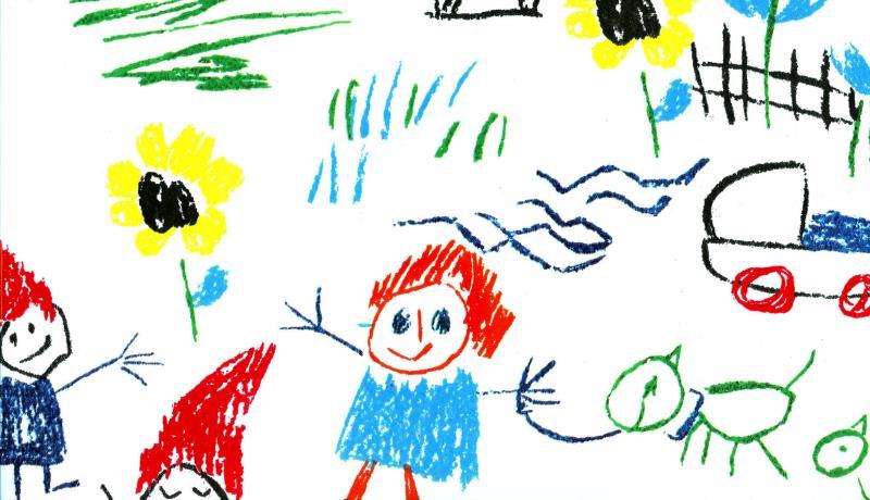 Desenhos de criança espalhados em uma folha branca.