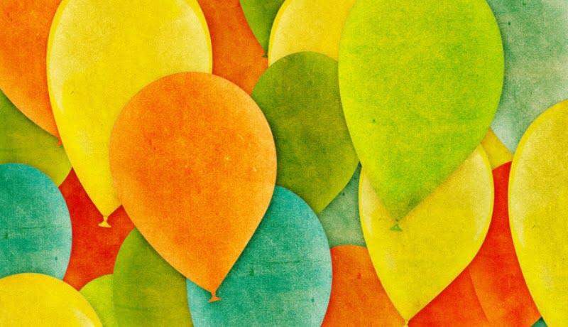 Ilustração de bexigas coloridas.