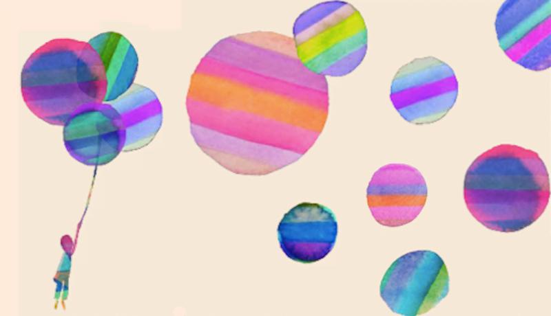 Desenho de um menino segurando balões coloridos.