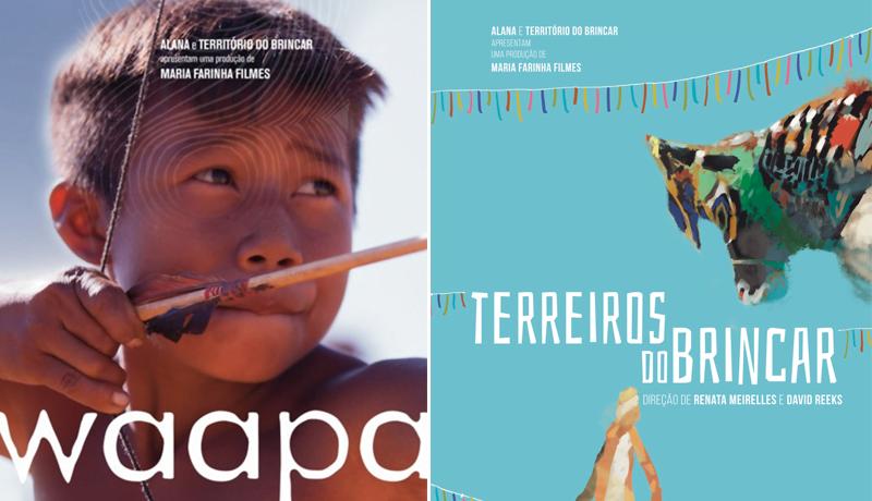 """Banners dos filmes """"Waapa"""", com uma criança indígena com um arco e flecha, e do """"Terreiros do brincar"""", com fitas coloridas"""