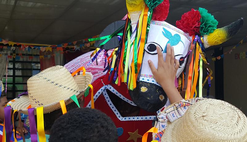 Pessoas passam a mão em um figurino que mostra um boi, colorido e cheio de enfeites folclóricos.