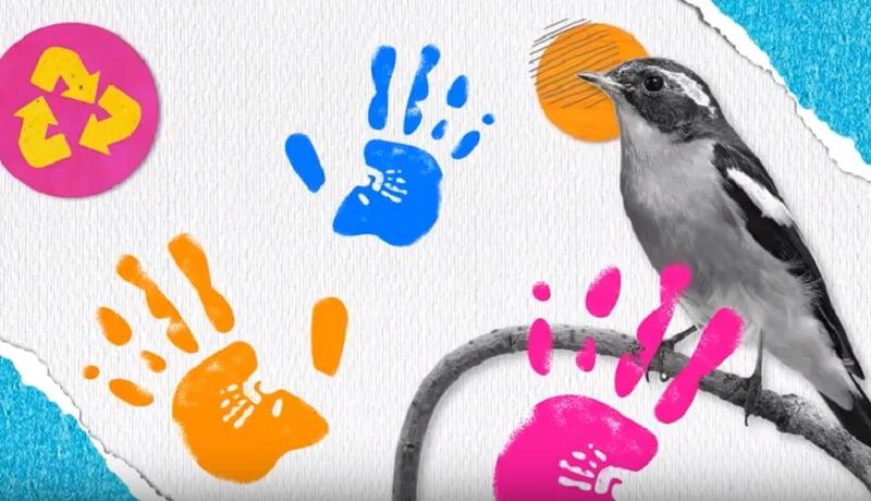 Colagem de fotos mostra marcas de mãos coloridas, junto a um passarinho.