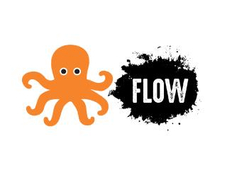 Logo com o desenho de um polvo laranja e o texto: flow
