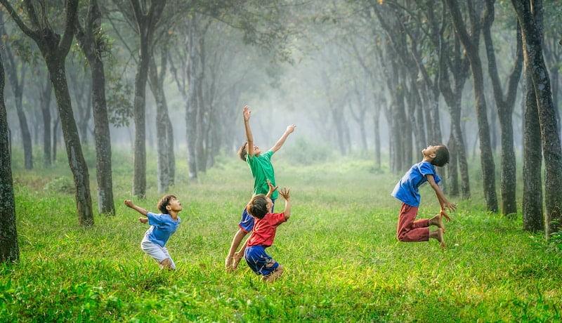 crianças pulando em uma floresta