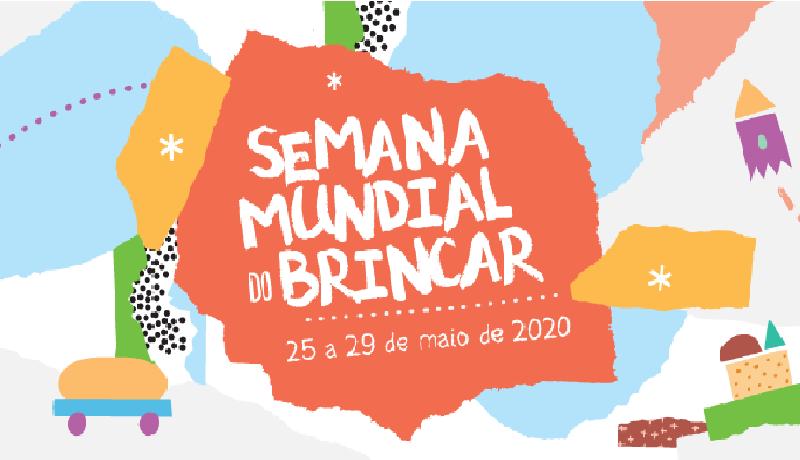 Ilustrações com várias formas geométricas nas cores vermelho, azul e laranja, com a aparência de papel picado. No centro da imagem está escrito em branco Semana Mundial do Brincar, 25 a 29 de maio de 2020.