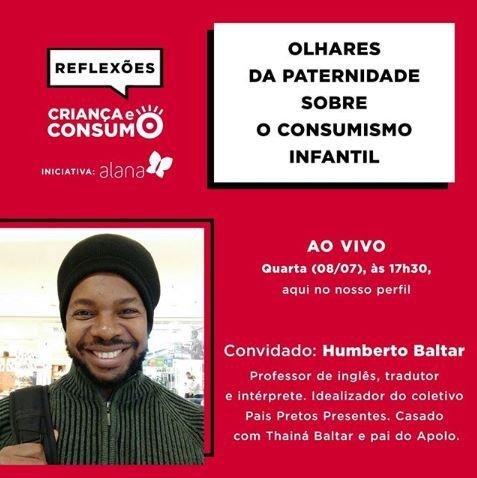 Logo da campanha de lives do criança e consumo com uma caixa de diálogo e palavra em preto que se diz reflexões. Abaixo do logo, palavra em branco
